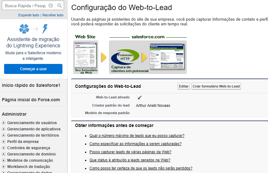 Habilitar opção Web-to-lead