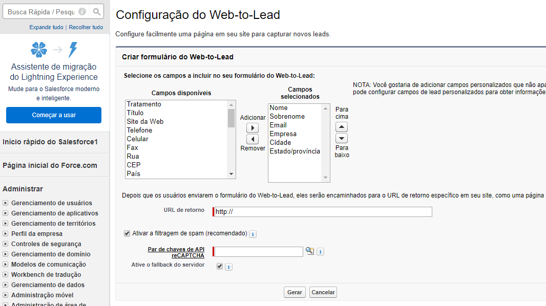 Configurar Web-to-lead