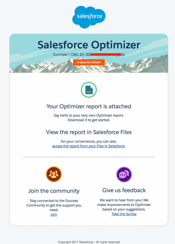 E-mail com o relatório do Salesforce Optimizer