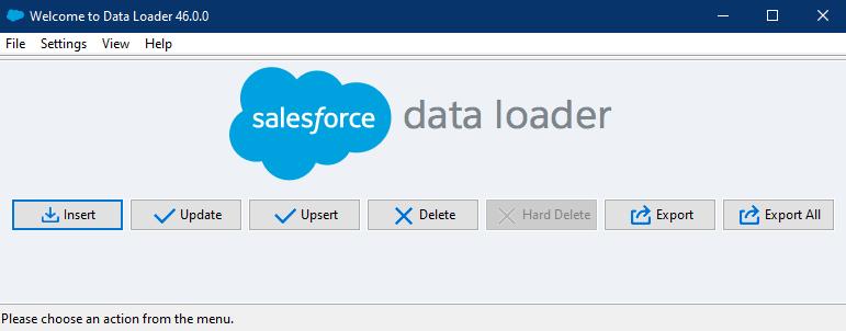 Tela do Data Loader